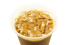 Close up of iced coffee isolated on white background. Close up of iced coffee in plastic cup isolated on white background Royalty Free Stock Photo
