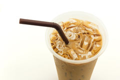 Close up of iced coffee in plastic cup on white background Royalty Free Stock Photography