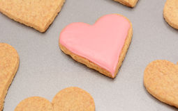 Close-up of an iced heart-shaped biscuit for Valentine's Day Royalty Free Stock Images