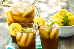 Close up Iced Tea With Lemons Stock Images