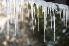 Close Up Of Icicles Hanging From Roof Stock Image