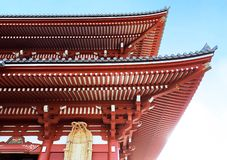 Close-Up of Iconic red roof of Japanese shrine. In Tokyo, Japan royalty free stock images