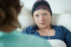 Close-up of ill with leukemia girl Royalty Free Stock Photo