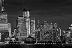 Close up of the illuminated buildings of New York Royalty Free Stock Photography