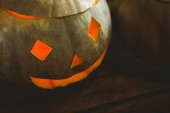 Close up of Illuminated jack o lantern during Halloween Royalty Free Stock Photography