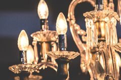 Close-up of Illuminated Light Bulb Royalty Free Stock Photography