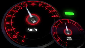 Close up illuminated Revving Speedometer and Tachometer, car dashboard stock video footage