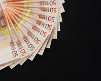 A close-up image of 50 euro money bank notes Royalty Free Stock Photos
