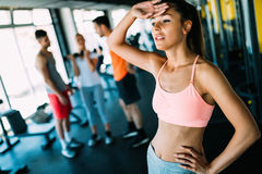 Close-up image of attractive fit woman in gym Stock Image