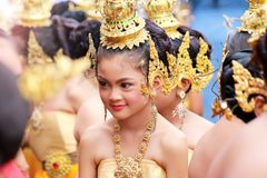 Beautiful girl wearing traditional Thai costumes Royalty Free Stock Photo