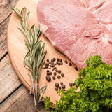 Close up image of beef steak with herbs and spices Royalty Free Stock Images