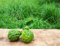 Close up image of bergamot on wooden Stock Photo