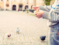 Close up image boy hands with bread for feeding doves Stock Photos