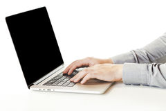 Close up image of business man typing on laptop Stock Photo