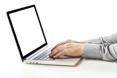 Close up image of business man typing on laptop Royalty Free Stock Images