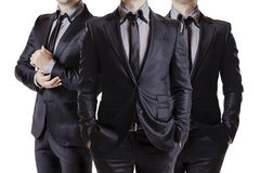 Close up image of business men in black suit royalty free stock photos