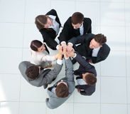 Close up image of business people making a stack of hands Royalty Free Stock Image