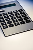 Close up image of calculator. Digital grey calculator. Close up Stock Photos
