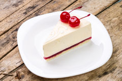 Close up image of cheesecake with cherry Royalty Free Stock Photography