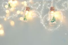 Close up image of Christmas tree in the masson jar garland light. Close up image of Christmas tree in the masson jar garland light royalty free stock photos