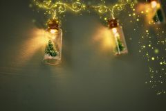 Close up image of Christmas tree in the masson jar garland light. Close up image of Christmas tree in the masson jar garland light stock photos