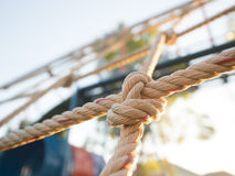 Close up image of climbing net for childrens at the playground.i Royalty Free Stock Images