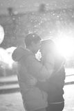 Close-up image of couple in love, man kisses a woman. Used filters instagram Black-white photo. Royalty Free Stock Images