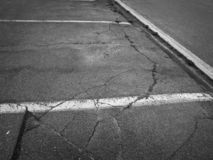 Parking lots pavement in black and white royalty free stock image