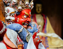 Close up image Dharmapala idol in Tsemo Hompa in Leh Stock Photos