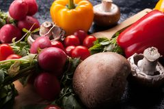 Close up image of different delicious fresh and healthy vegetabl Royalty Free Stock Image