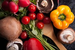 Close up image of different delicious fresh and healthy vegetabl Stock Image