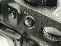 Close-up image of DSLR camera. close-up viewfinder AEL-AFL button and dial.  royalty free stock photography