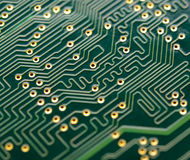 Close up Image of Electronic Circuit Board. Computer Technology Concept Background Stock Photos