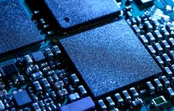 Close up Image of Electronic Circuit Board with Processor Royalty Free Stock Image
