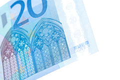 Close up image of 20 euro banknotes over white. The Close up image of 20 euro banknotes over white Stock Photos