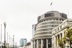 Close up image of the exterior of Parliament house including the Beehive. Wellington, New Zealand - 18 July 2016: Close up image of the exterior of Parliament Royalty Free Stock Image