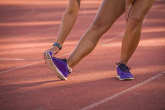 Close up image of a female stretching royalty free stock photos