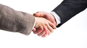 Close-up image of a firm handshake standing for a trusted partnership Royalty Free Stock Photography
