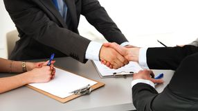 Close-up image of a firm handshake standing for a trusted partnership Stock Photo