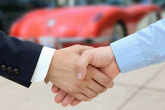 Close-up image of a firm handshake  after a successful deal of b Royalty Free Stock Image