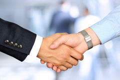 Close-up image of a firm handshake  between two colleagues Royalty Free Stock Photography