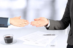Close-up image of a firm handshake  between two colleagues Stock Image