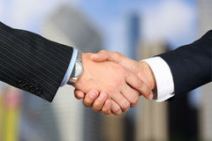 Close-up image of a firm handshake  between two colleagues outsi Stock Photo