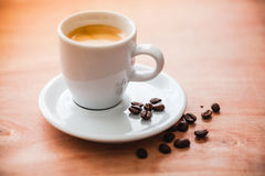 Close up image of fresh espresso and white cup Stock Images