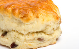 Close up image of a fruit scone. On white Royalty Free Stock Images