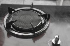 Close up image of the gas stove old stock photo