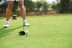 Golf tournament. Close-up image of golfer taking part in tournament Stock Images