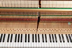 Close up image of grand piano keys and interior showing strings, hammer and structure background. Close up image of grand piano keys and interior showing strings stock photos