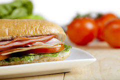 Close up image of ham sandwich Stock Photos