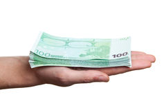 Close up image of hand taking several bills Royalty Free Stock Photography